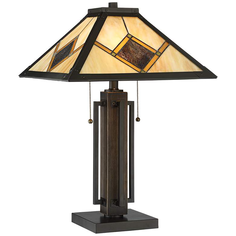 Robert Louis Tiffany Robby Bronze Mission Accent Table Lamp