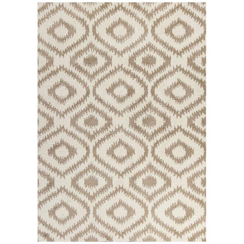 """Oasis 1651 5'3""""x7'7"""" Ivory and Beige Concentro Shag"""