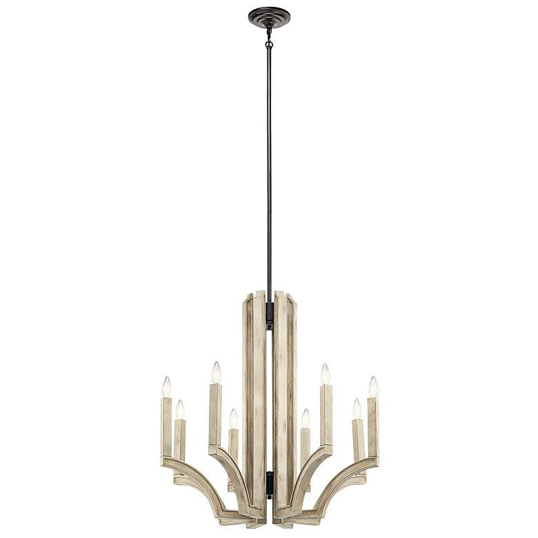 "Botanica 29 1/2"" Wide White-Washed Wood 8-Light Chandelier"