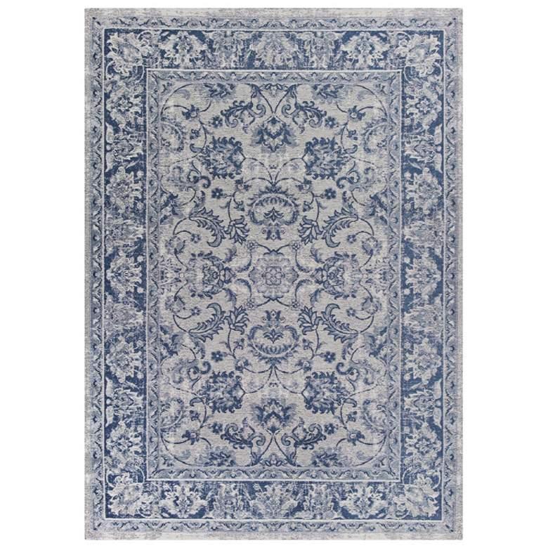 Retreat 107 5'x7' Slate Blue Kashan Stain Resistant Area Rug