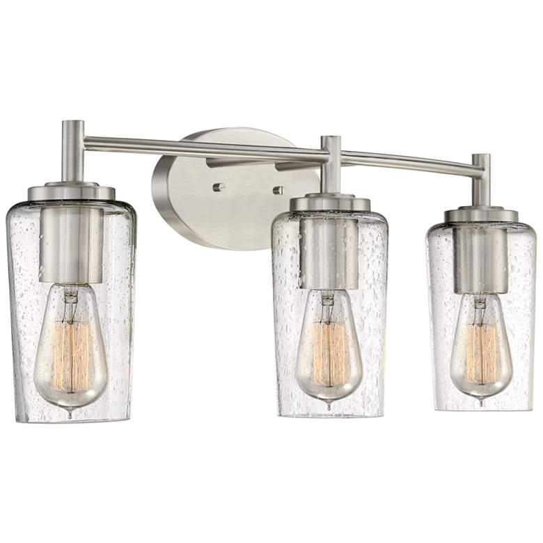 "Quoizel Edison 23"" Wide Brushed Nickel 3-Light Bath Light"