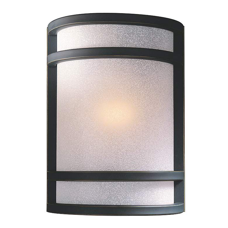 """Bronze With French Scavo Glass 9 1/2"""" High Wall Sconce"""
