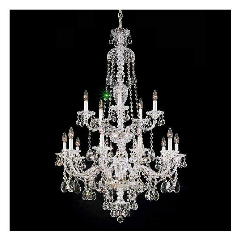 "Schonbek Sterling 32"" Wide Large Crystal Chandelier"
