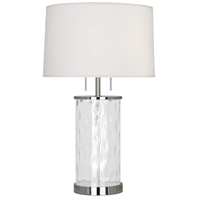 Gloria Wavy Glass with Polished Nickel Accents Table Lamp