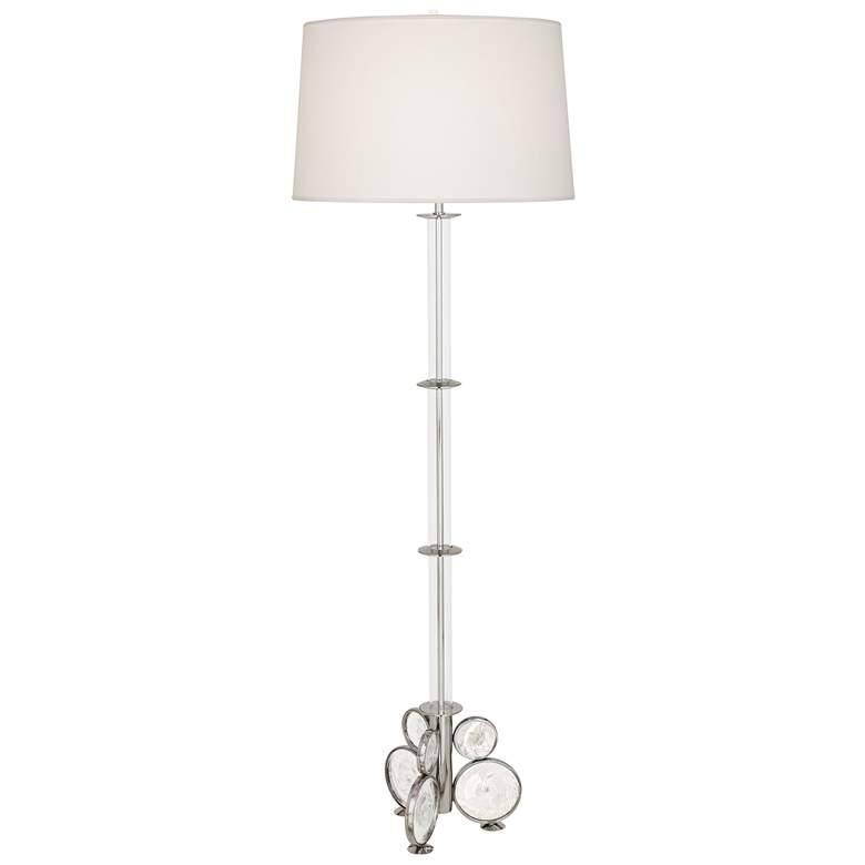 Atticus Polished Nickel w/ Swirled Bubble Glass Floor Lamp