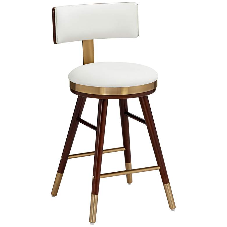 "Parker 25 1/2"" White Leather Counter Stool"