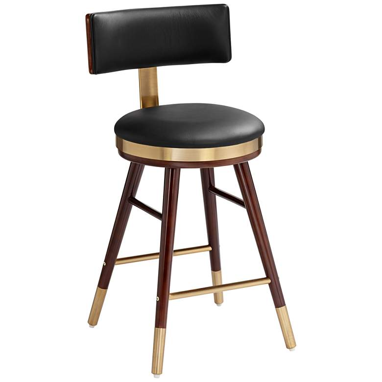 """Parker 25 1/2"""" Black Leather Counter Stool"""