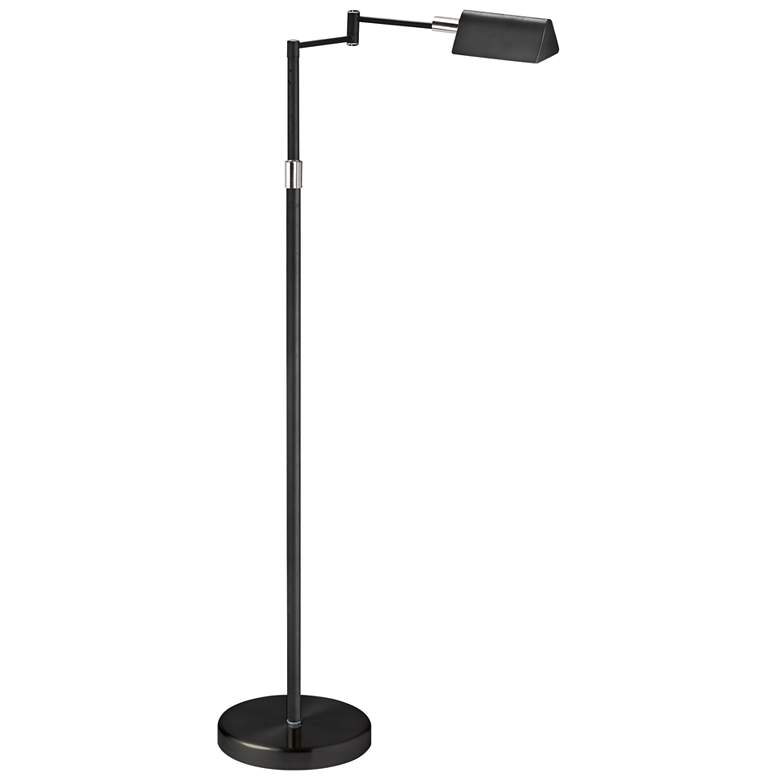 Gala Black Metal LED Adjustable Swing Arm Floor Lamp