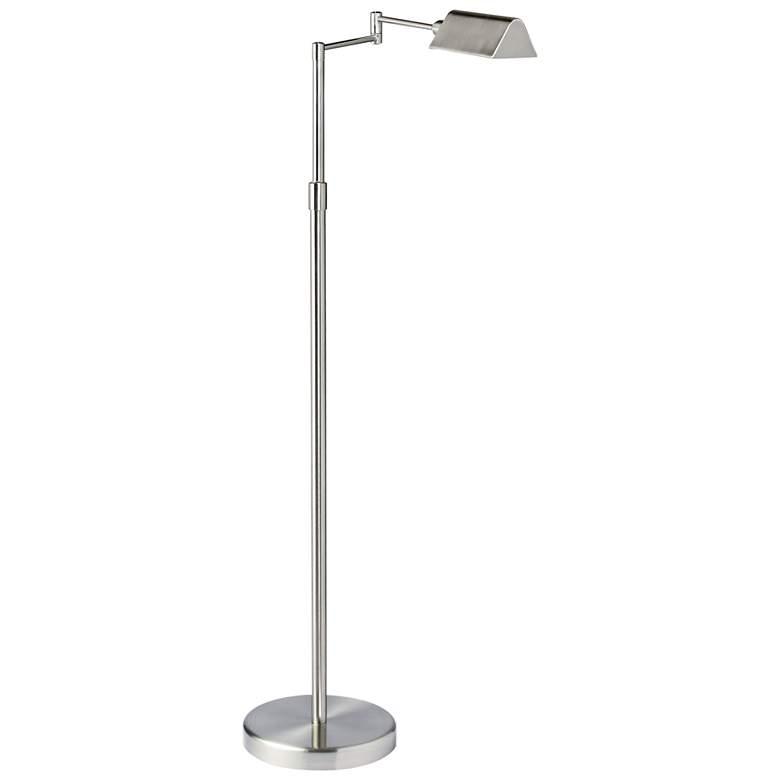 Gala Satin Nickel Metal LED Swing Arm Floor
