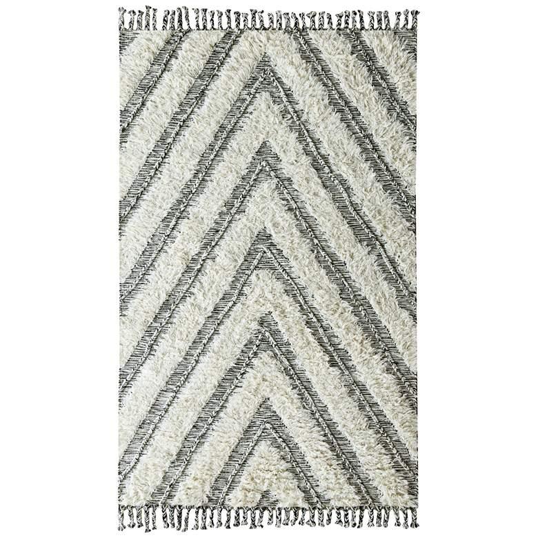 Carmel Kilim Shag 5'x8' Ivory and Black Area Rug