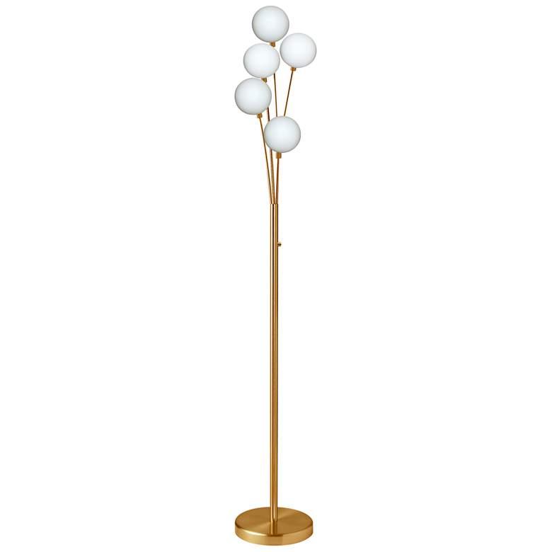 Zelda Aged Brass 5-Light Modern Deco Floor Lamp