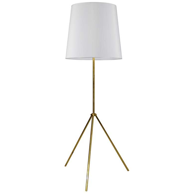 Finesse Aged Brass Tripod Floor Lamp w/ JTone White Shade