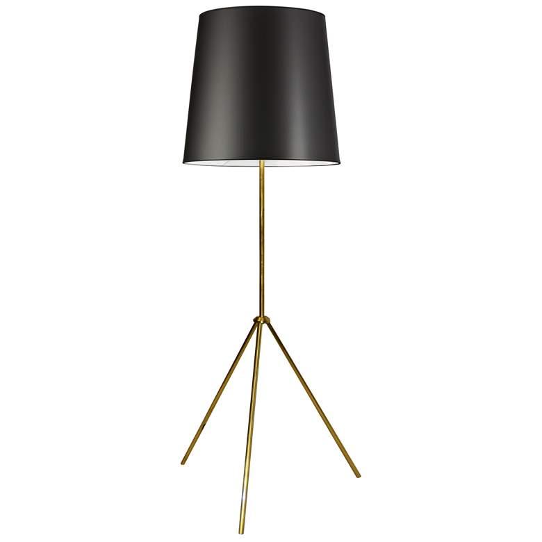 Finesse Aged Brass Tripod Floor Lamp w/ JTone Black Shade
