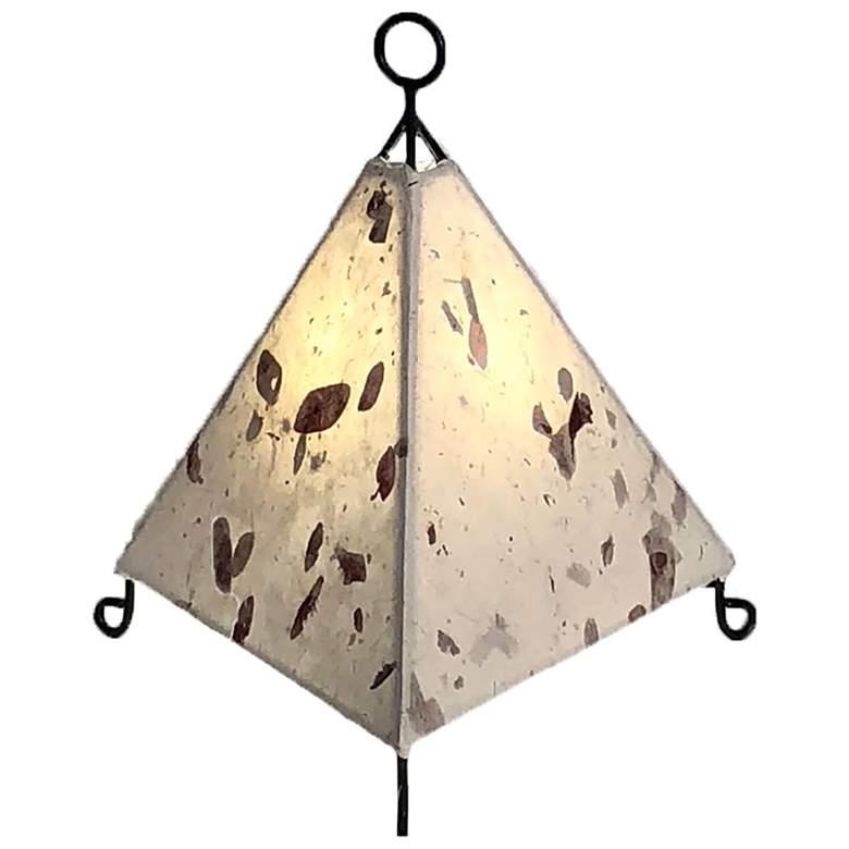 "Mini Pyramid 12"" High Brown Acacia Uplight Accent Table Lamp"