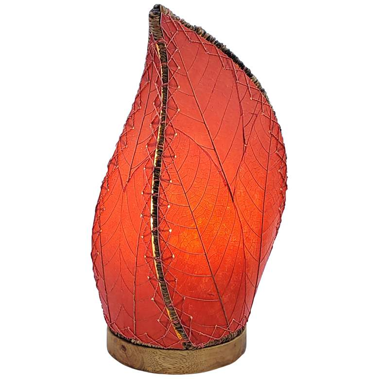 """Eangee Leaflet 14"""" High Red Uplight Accent Table Lamp"""