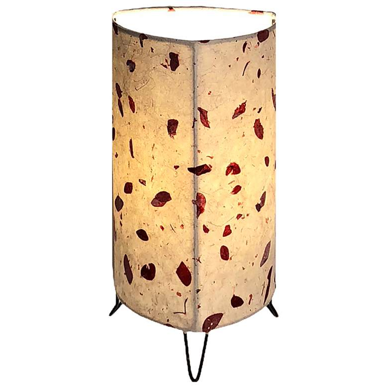 """Eangee Bowed 16"""" High Brown Acacia Uplight Accent Table Lamp"""