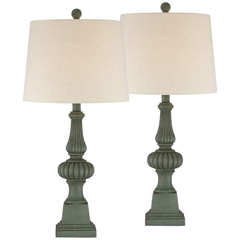 Heloise Green Pedestal Table Lamps Set of 2