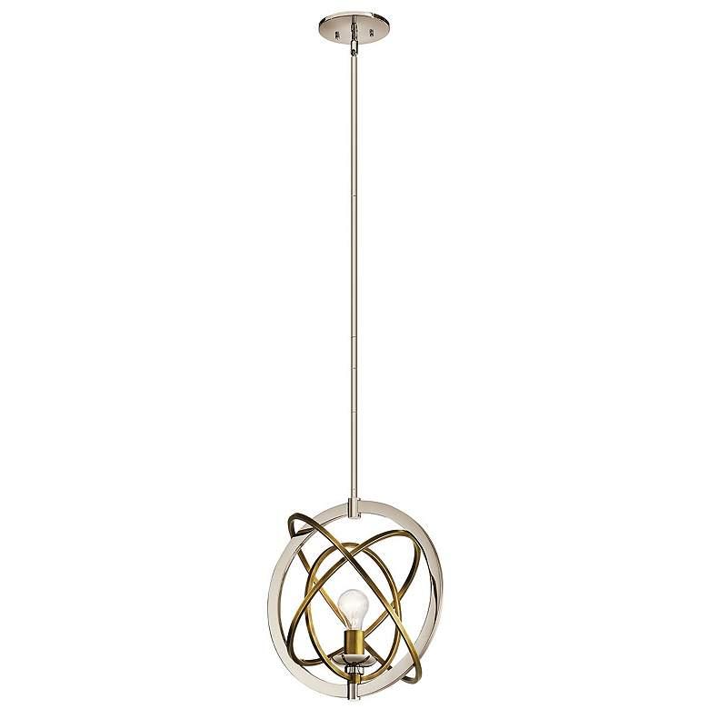 "Kichler Ibis 15""W Polished Nickel and Brass Pendant Light"