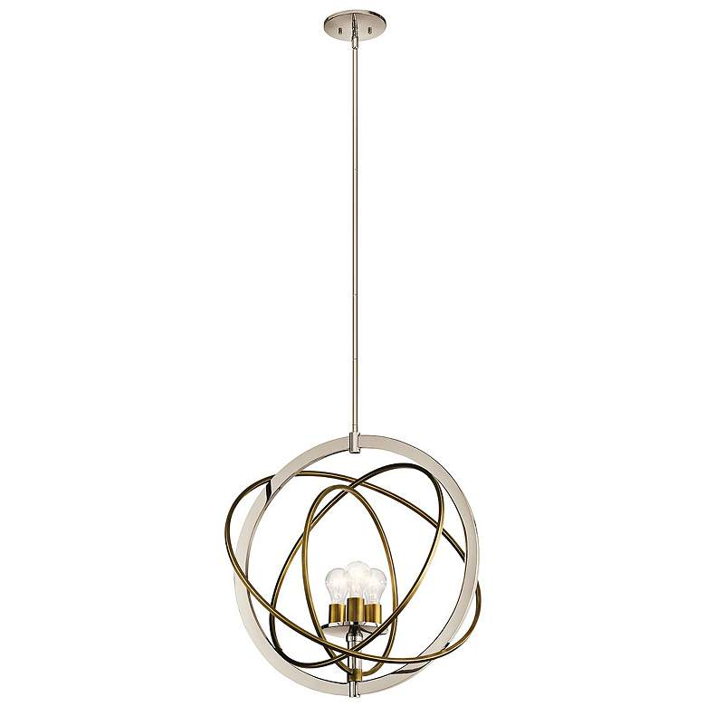"""Ibis 22 1/2"""" Wide Polished Nickel and Brass 3-Light Pendant"""