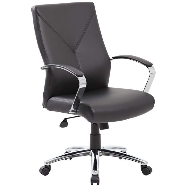 Boss Black LeatherPlus Adjustable Swivel Executive Chair