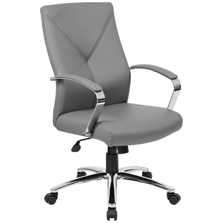 Boss Gray LeatherPlus Adjustable Swivel Executive Chair
