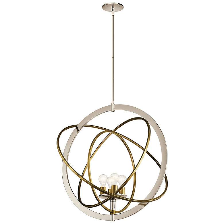"""Ibis 30"""" Wide Polished Nickel and Brass 4-Light Pendant"""