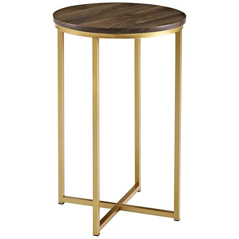 """Aurelia 16"""" Wide Dark Walnut and Gold Metal Round Side Table"""
