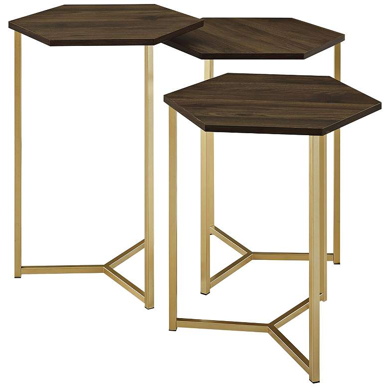 Hex Dark Walnut Top and Gold Metal Tables Set of 3
