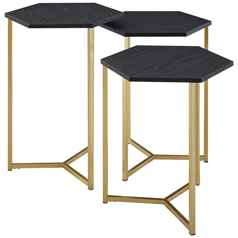 Hex Graphite Top and Gold Metal Tables Set of 3