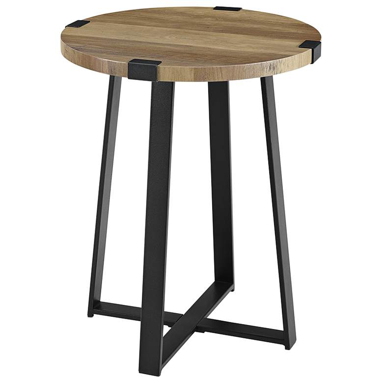 """Rustic 18"""" Wide Metal Legs and Oak Top Round Side Table"""