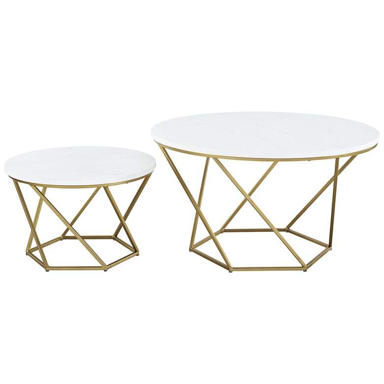 Geometric White Marble Top Coffee Tables Set of 2