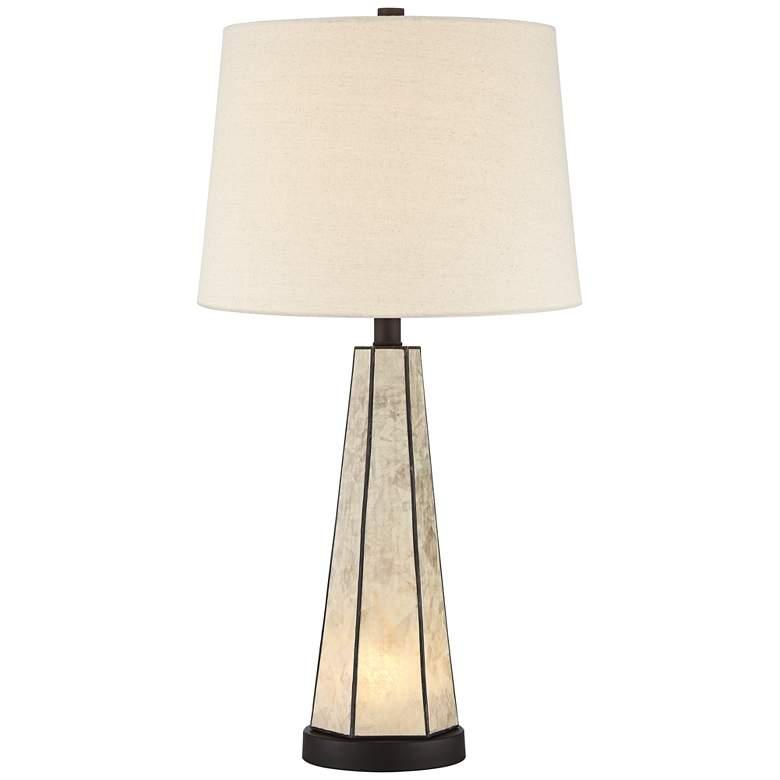 Melia Bronze Geometric Mica Table Lamp with Night Light