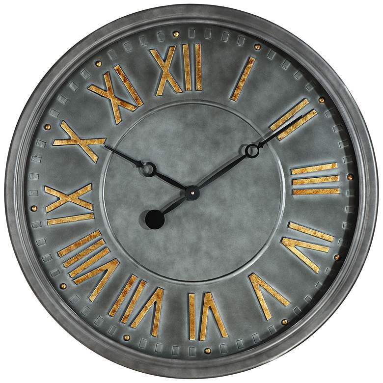 "Consus 31 1/2"" Wide Gray Roman Numeral Metal Wall Clock"