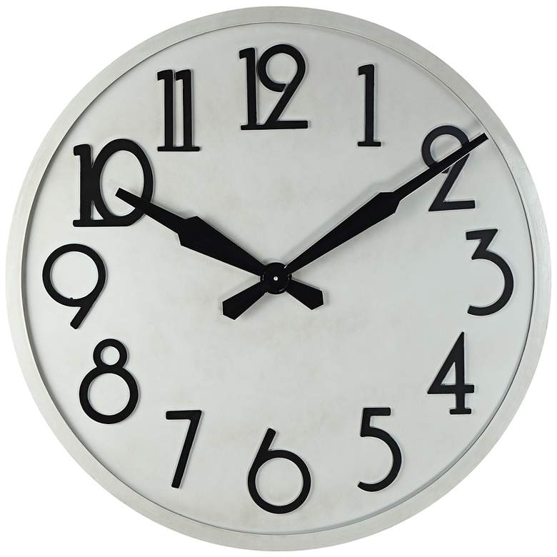 """Le Noir 33"""" Wide Gray and Black Metal Wall Clock"""