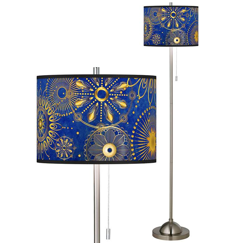 Celestial Brushed Nickel Pull Chain Floor Lamp