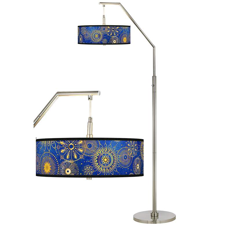 Celestial Giclee Shade Arc Floor Lamp