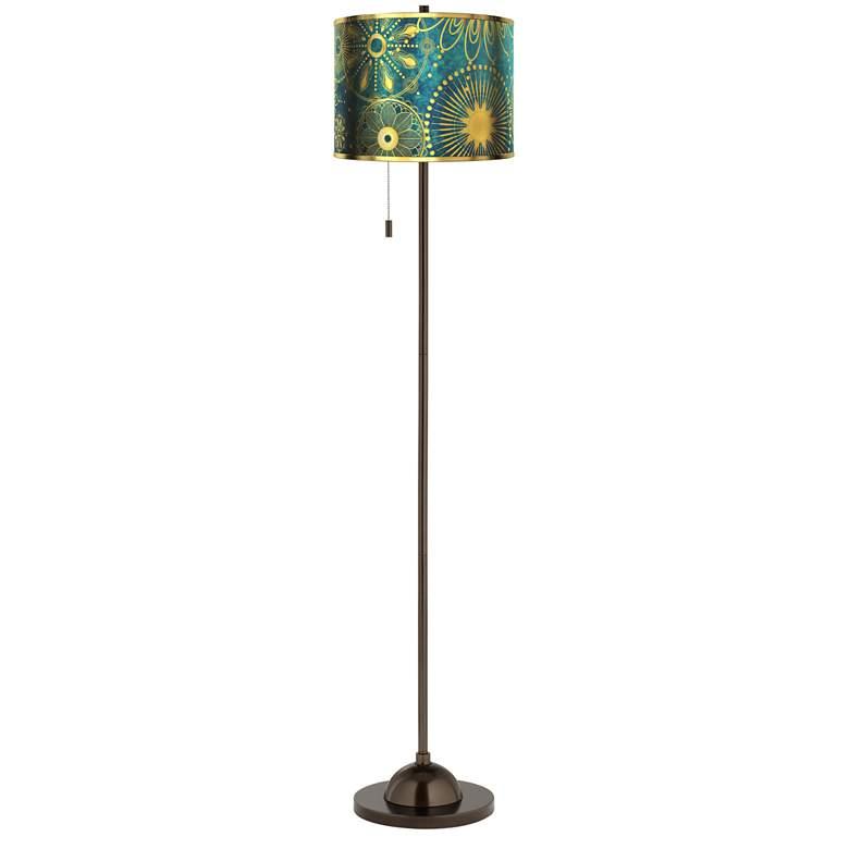 Celestial Giclee Gold Metallic Glow Bronze Club Floor Lamp