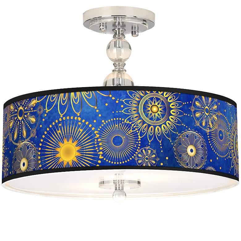 """Celestial Giclee 16"""" Wide Semi-Flush Ceiling Light"""