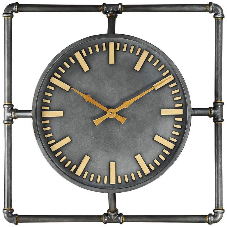 "Arron 21 1/2"" Wide Gray Metal Wall Clock"