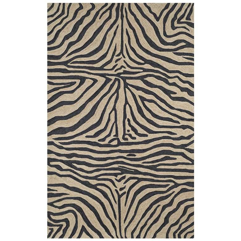 """Ravella Black 2033/48 5'x7'6"""" Zebra Indoor-Outdoor Area Rug"""