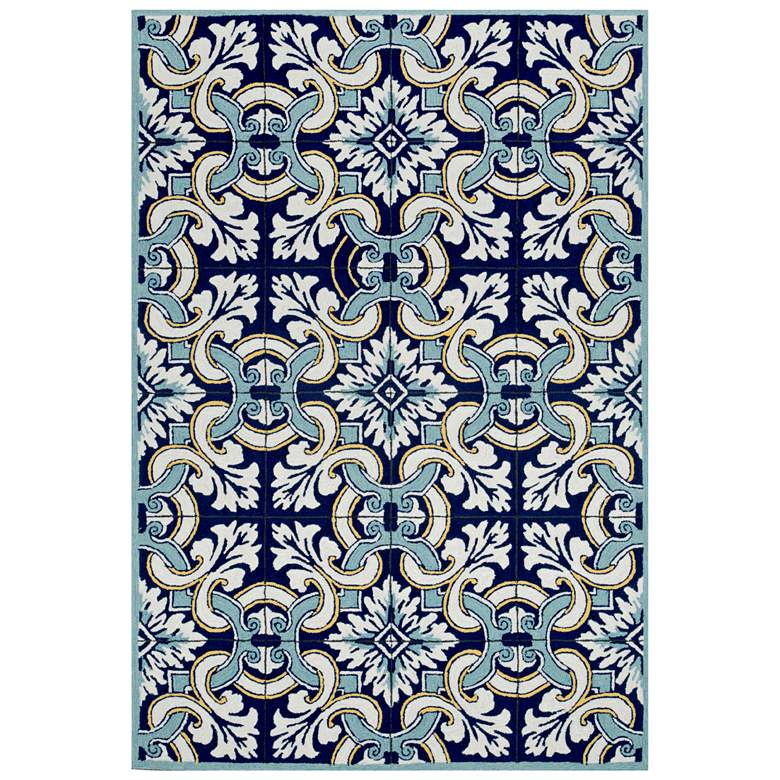 "Ravella Floral Tile 2253/33 5'x7'6"" Navy Indoor-Outdoor Rug"