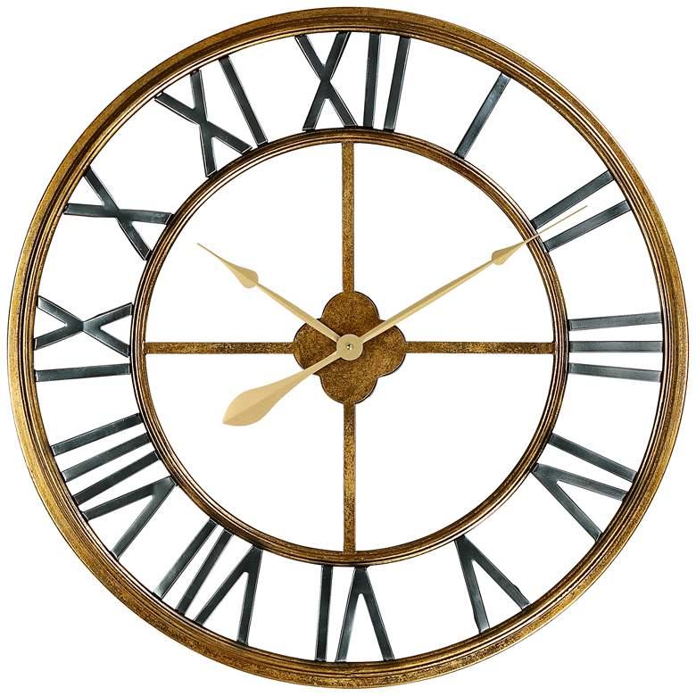 "Metallic Gold 28 3/4"" Round Hand-Made Iron Wall Clock"