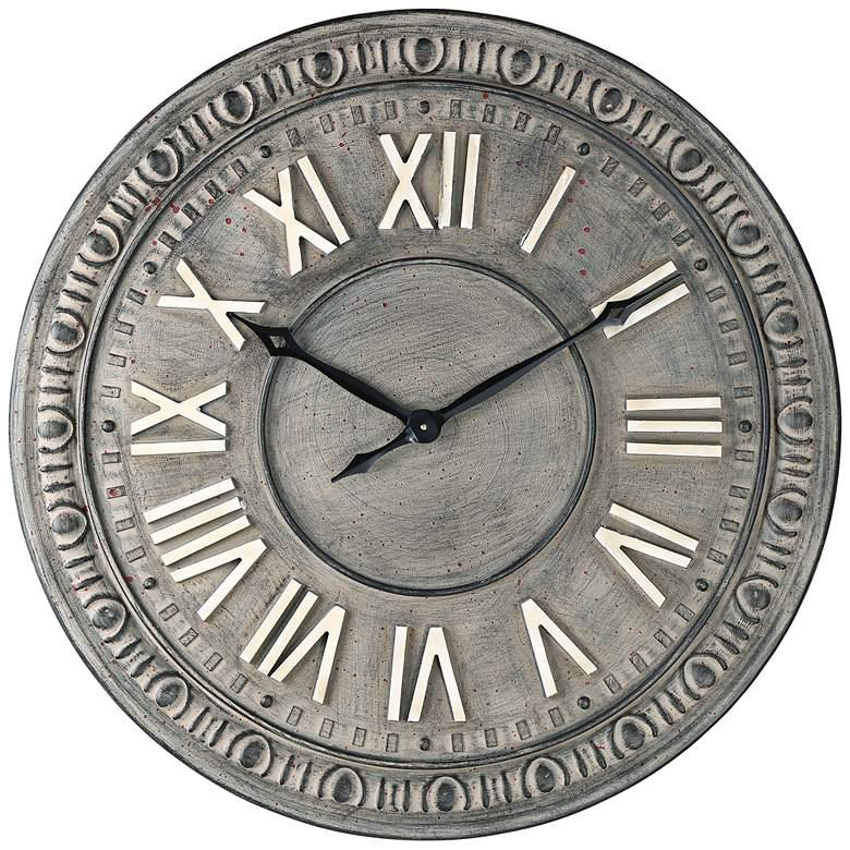 "Romana 34 1/2"" Wide Gray Roman Numeral Metal Wall Clock"