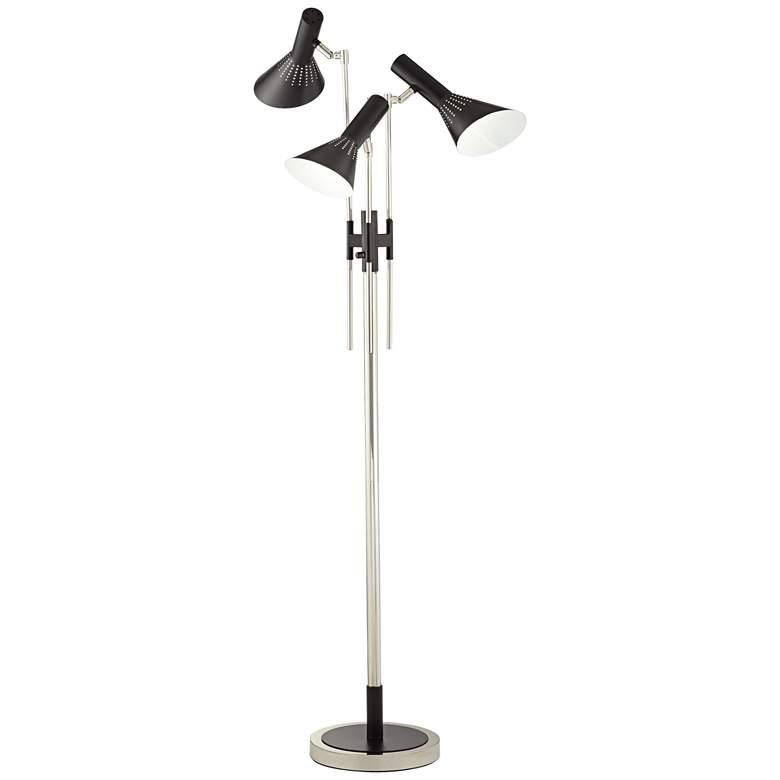 Possini Euro Halifax 3-Light Nickel and Black Floor Lamp