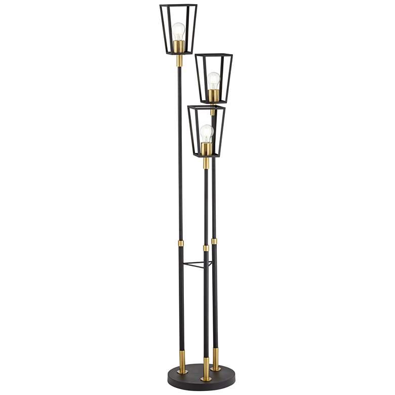 Jameson Satin Black 3-Light Floor Lamp with Edison Bulbs