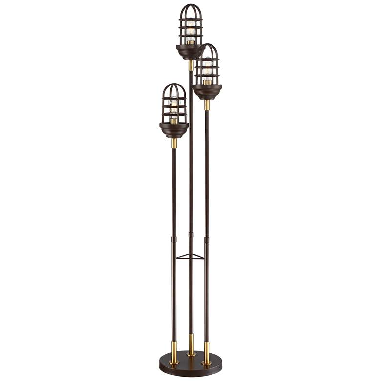 Tallow Industrial Caged 3-Light Floor Lamp with Edison Bulbs