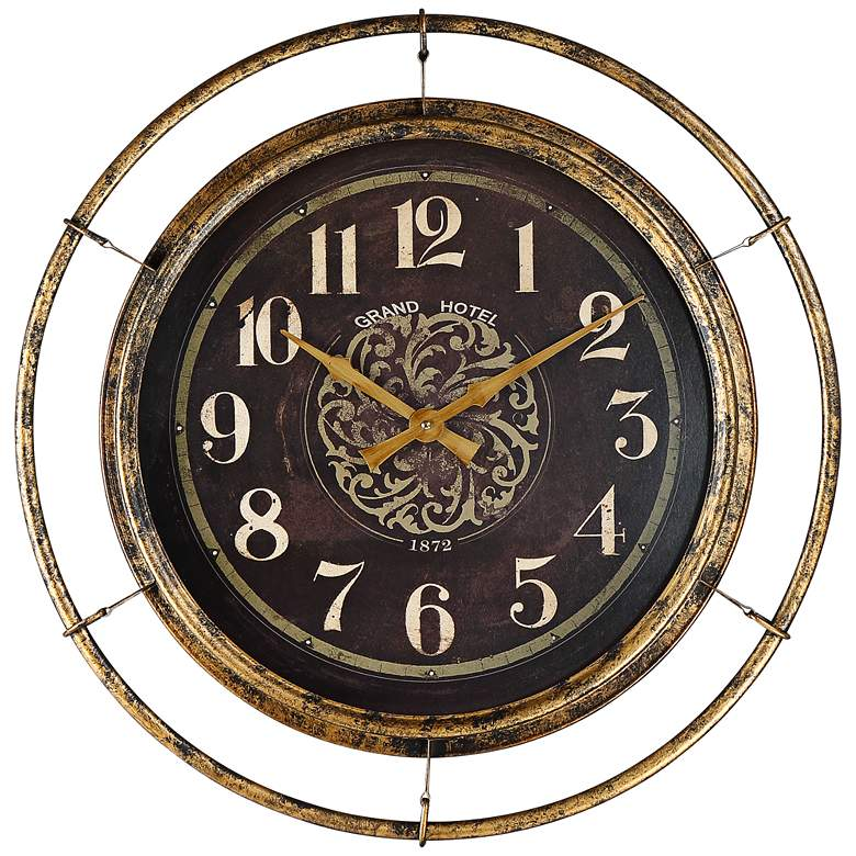 """Stewart 23"""" Wide Distressed Gold and Brown Metal Wall Clock"""