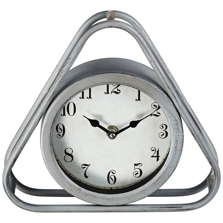 "Iza 8 1/4"" Wide Triangular Gray Metal Table Clock"