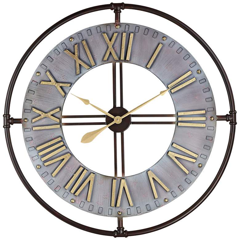 """Industry 33"""" Wide Steel and Gold Open-Face Wall Clock"""