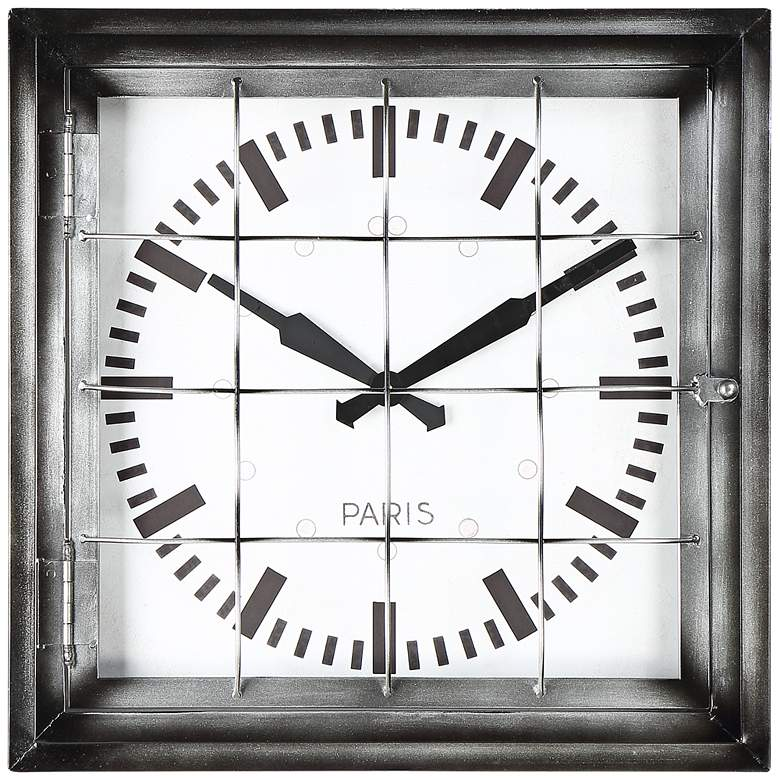 "Iles 20"" Wide Square Caged Metal Wall Clock"